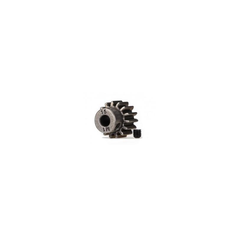 Piñón 15-T Dientes (paso 1.0 métrico) para eje de 5mm. con tornillo de ajuste