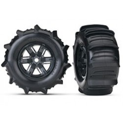 Tires & wheels, assembled, glued (X-Maxx satin chrome wheels, Maxx AT tires, foam inserts) (left & right) (2)