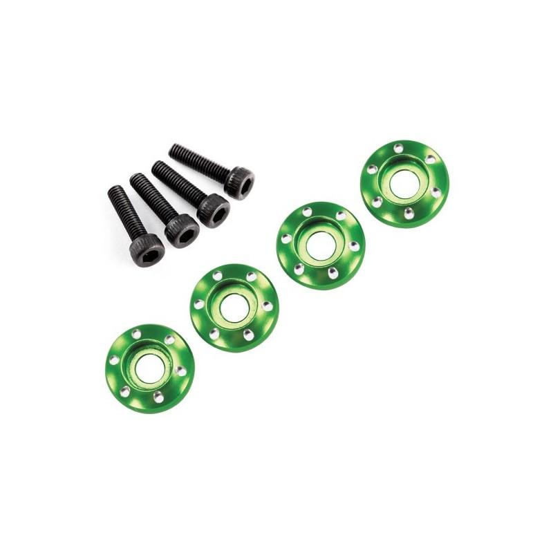 Wheel nut washer machined aluminium green (4pcs)