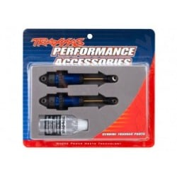 Shocks, GTR long blue-anodized, PTFE-coated bodies with TiN shafts (fully assembled, without springs) (2)