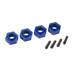 Hexágonos de rueda de 12mm, aluminio 6061-T6 (anodizado azul) (4) / pasador de tornillo (4)