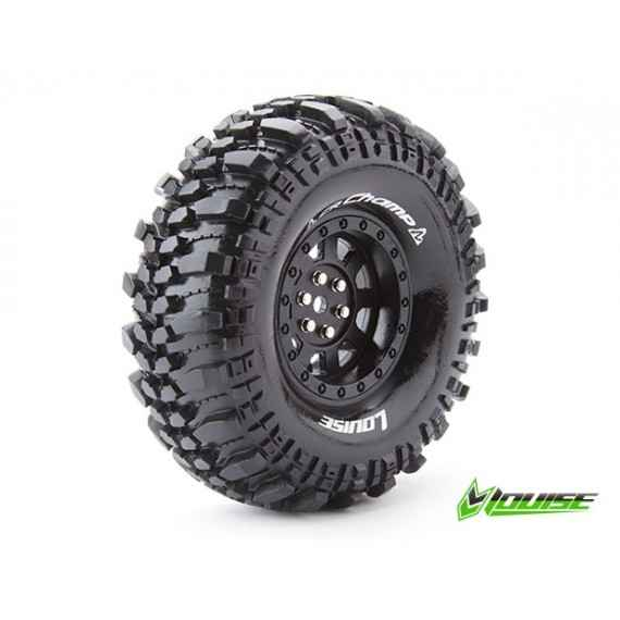 "Louise CR Champ 1/10 Scale 1.9"" Crawler Tires Super Soft Compound Black Rim Mounted"