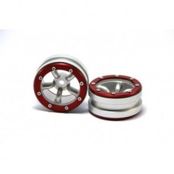 Llantas Metsafil BEADLOCK WHEELS PT-SAFARI SILVER/RED 1.9 (2 PCS)