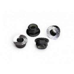 Tuercas de aluminio con nylon M5, Negro (4pcs)