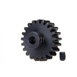 Piñón 21-T Dientes (paso 32p.) para eje de 3mm.(mecanizado, acero endurecido) con tornillo de ajuste