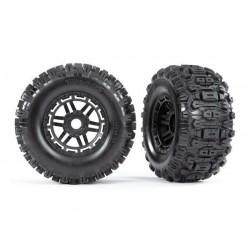 Neumáticos Sledgehammer con llantas, para Maxx (llantas negras, perfil doble (2pcs)