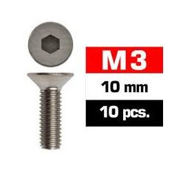 Tornillos M3x10, cabeza avellanada, Ultimate Racing (10pcs)
