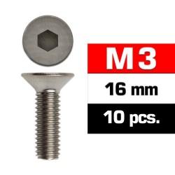 Tornillos M3x16, cabeza avellanada, Ultimate Racing (10pcs)