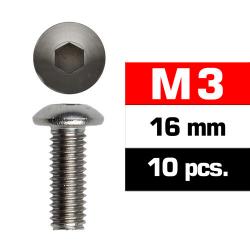 Tornillos M3x16, cabeza de botón, Ultimate Racing (10pcs)