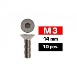 Tornillos M3x14, cabeza avellanada, Ultimate Racing (10pcs)