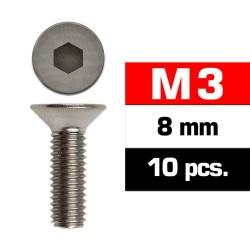 Tornillos M3x08, cabeza avellanada, Ultimate Racing (10pcs)