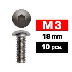 Tornillos M3x18, cabeza de botón, Ultimate Racing (10pcs)