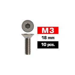 Tornillos M3x18, cabeza avellanada, Ultimate Racing (10pcs)