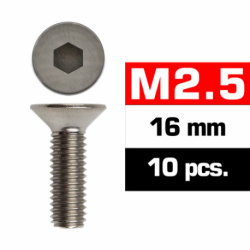 Tornillos de 2.5x16 cabeza cilíndrica, hexagonal, Ultimate Racing (10pcs)