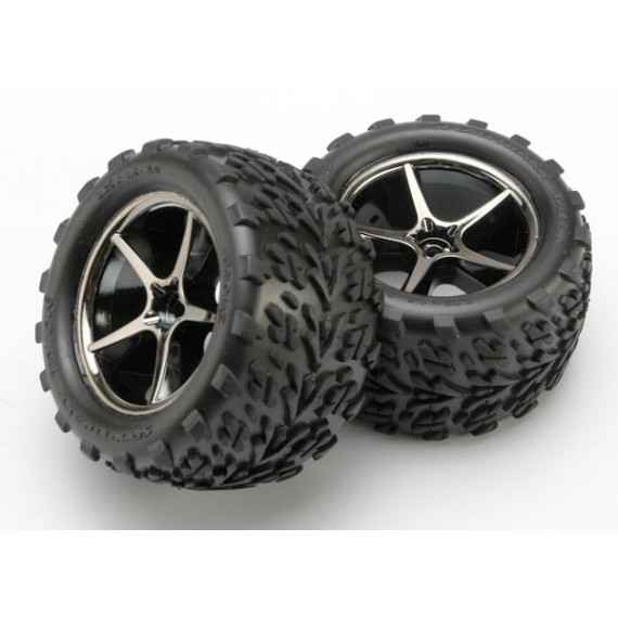 Tires and wheels assembled glued (Gemini black chrome wheels) E-revo1/16