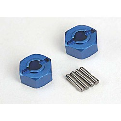 Wheel hubs hex (blue-anodized lightweight aluminum) (2)/ axle pins(2)