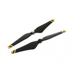 Helices DJI auto ajustables reforzadas de fibra de carbono 9450 (junturas de material compuesto, negras con franjas amarillas)