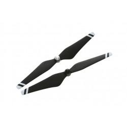 Helices DJI auto ajustables reforzadas con fibra de carbono 9450 (junturas de material compuesto, negras con franjas blancas)