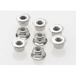 Nuts 4mm flanged nylon locking (steel serrated) (8)