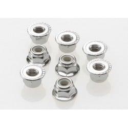 Tuercas de bloqueo de nailon 4mm rebordeadas (Acero, dentadas) 8pcs