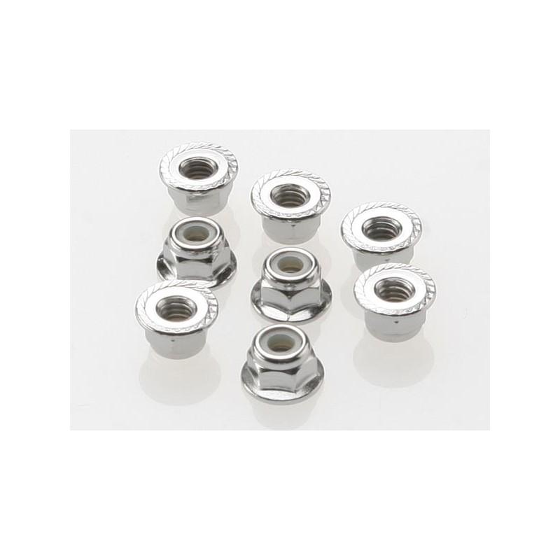 Tuercas de bloqueo rebordeadas de nailon 4mm ( Acero, dentadas) 8pcs