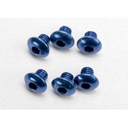 Tornillos de 4x4mm. cabeza de boton aluminio azul (hexagonal) (6pcs)