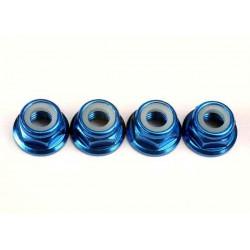 Tuercas de 5 mm con bridas de bloqueo de nylon (aluminio anodizado en azul) (4pcs)