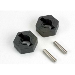 Wheel hubs hex (2)/ axle pins (2.5x12mm) (2)