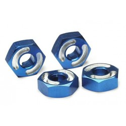 Wheel hubs hex 6061-T6 aluminum (blue) (4)/ axle pins (2.5