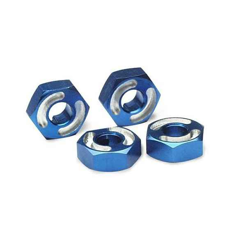 Wheel hubs hex 6061-T6 aluminum (blue) (4)/ axle pins (2.5