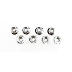Tuercas, bloqueo de nylon con bridas de 5 mm (acero, dentado) (8)