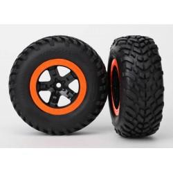 Ruedas completas, ensambladas, (2WD delanteras) Aro Naranja (2pcs)