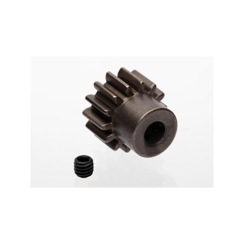 Piñón 14-T Dientes (1.0 paso metrico.) para eje de 5mm. con tornillo de ajuste
