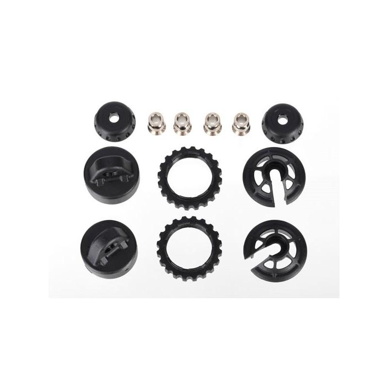 Caps and spring retainers, GTR long/xx-long shock (upper cap (2)/ hollow balls (4)/ bottom cap (2)/ upper retainer (2)/