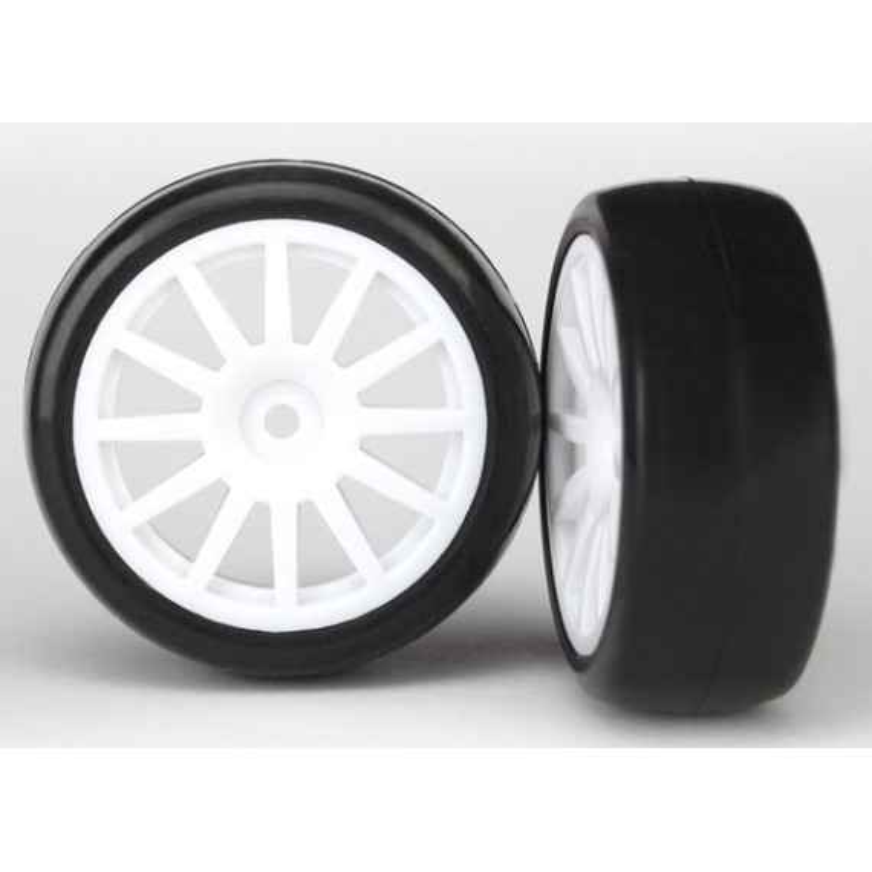 T&W Spoke Wht Wheel Slicks Tires (LATRAX Rally) (2pcs)