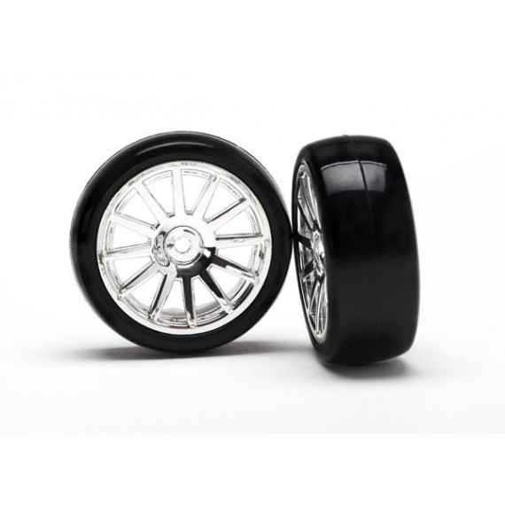 12-Sp Chrm Wheels Slick Tires Tires (LATRAX Rally) (2pcs)