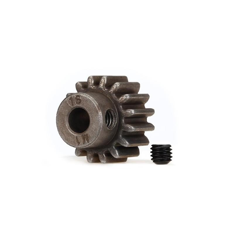 Piñón 16-T Dientes (paso 1.0 metrico) para eje de 5mm. con tornillo de ajuste