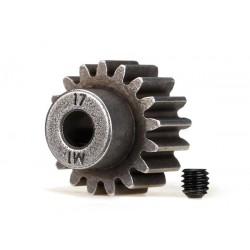 Piñón 17-T Dientes (paso 1.0 metrico) para eje de 5mm. con tornillo de ajuste