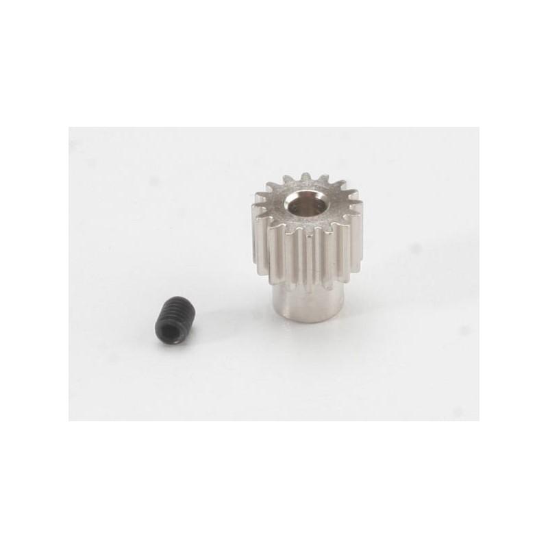 Piñón 16-T Dientes (paso 48p.) para eje de 3mm. con tornillo de ajuste