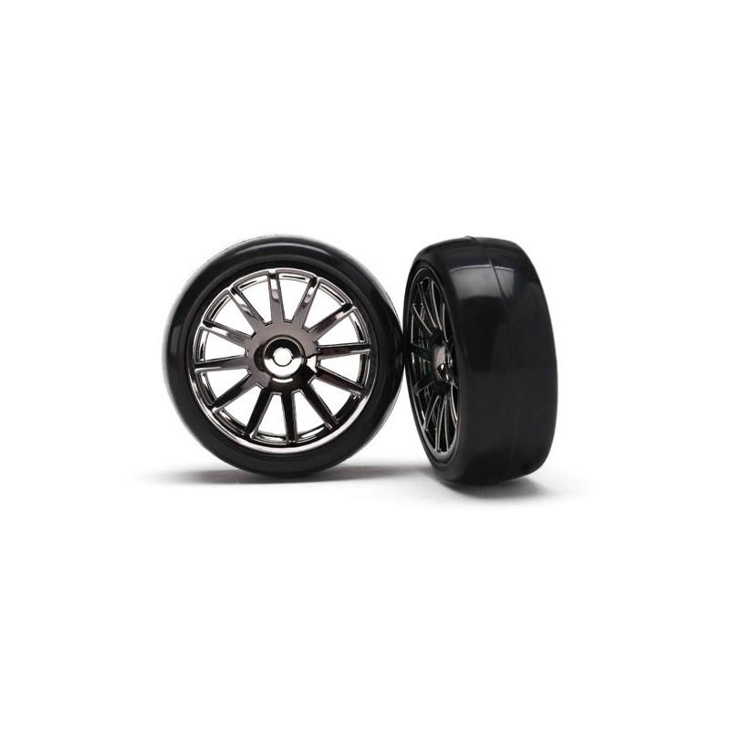 12-Sp Blk Wheels Slick Tires Tires (LATRAX Rally) (2pcs)