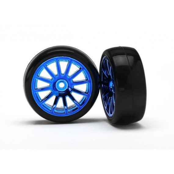 12-Sp Blue Wheels Slick Tires Tires (LATRAX Rally) (2pcs)