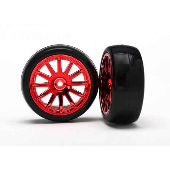 12-Sp Red Wheels Slick Tires Tires (LATRAX Rally) (2pcs)