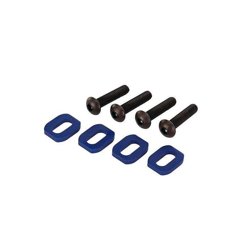 Arandelas, montaje del motor, aluminio (anodizado azul) (4) / 4x18 mm BCS (4)