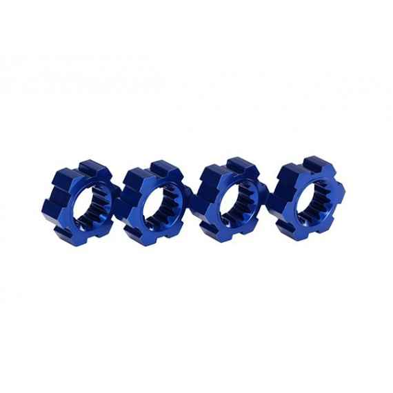 Wheel hubs hex (2)/ hex clips aluminum (blue-anodized) (4)