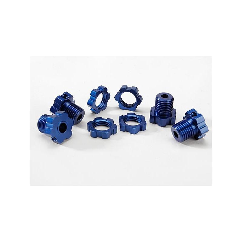 Bujes de rueda estriados 17 mm (anodizado en azul) (4) / tuercas de rueda