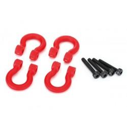 Aros D-ring de plastico rojo para parachoques (4pcs)