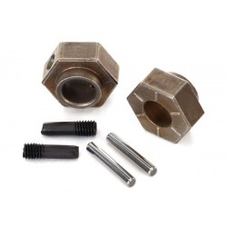 Wheel hubs 12mm hex (2)/ stub axle pins (2) (steel)