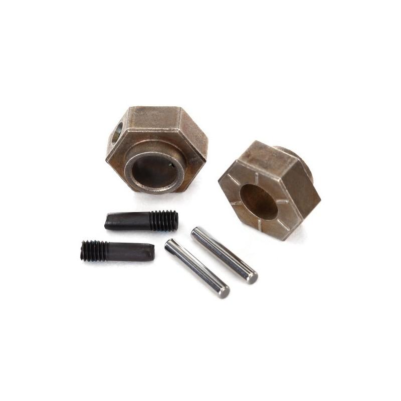Hexágonos de 12 mm hexagonales (2) / pasadores de eje corto (2) (acero)
