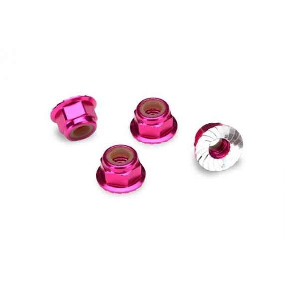 Nuts, aluminum, flanged, serrated (4mm) (pink-anodized) (4)
