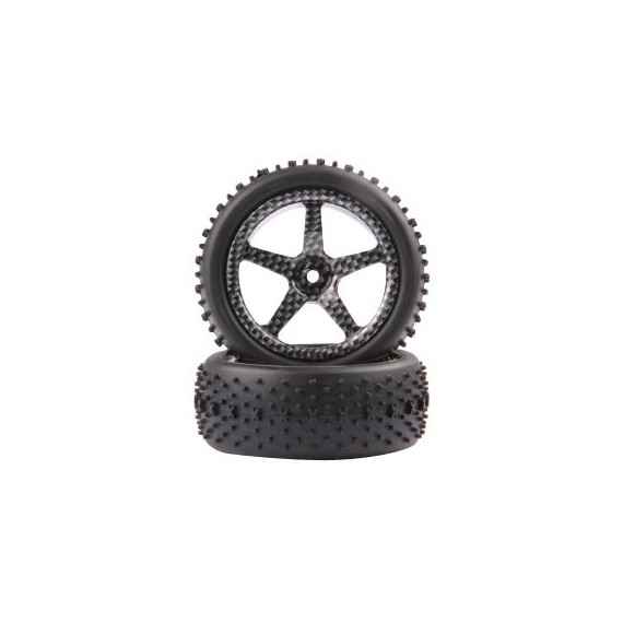 Fastrax 1/10th Mounted Buggy Tyres LP 'Stub' Rear (spoked)